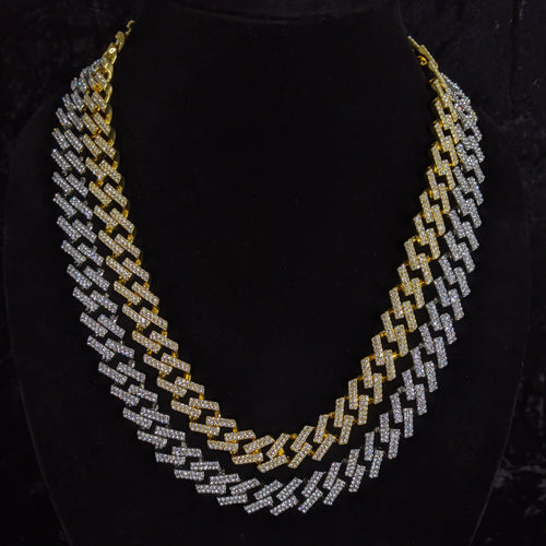 15MM Iced Out Cuban Link Prong Necklace