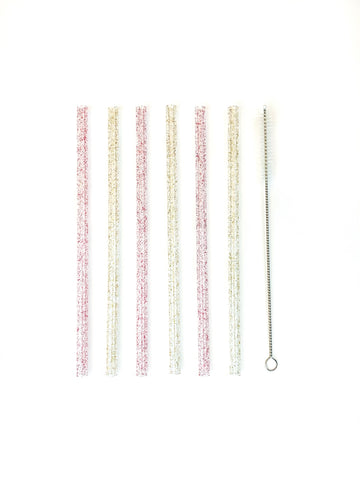 Glitter Reusable Plastic Straw Set