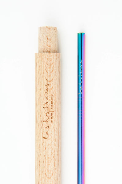 Wooden straw case with straw