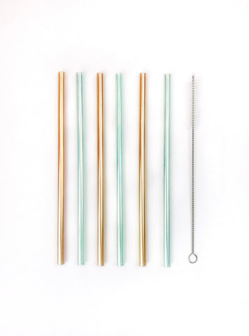 Metallic Reusable Plastic Straw Set