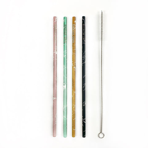 Marble Metal Straw Set