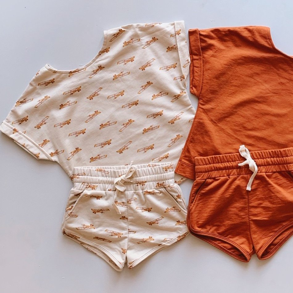 Baby Terry Jogger Shorts - Airplane Print