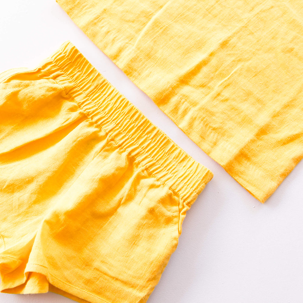 Linen Lounge Shorts - Yellow