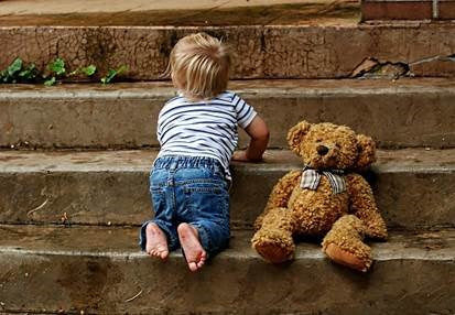 Toddler Playing on stairs