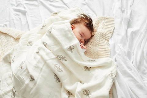 Baby Sleeping in Matchstick Monkey Blanket