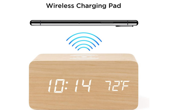 Modern Digital Wooden Alarm Clock with Wireless Charging