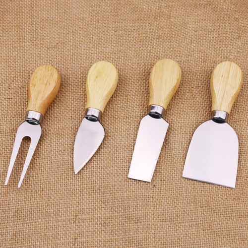 (4pcs) Wooden Handle Cheese Knives Set Cheese Knife Slicer Fork Scoop Cutter Useful Cooking Tools In Black Box