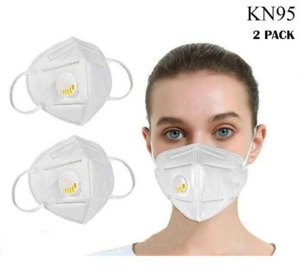 KN95 White Disposable Face Masks with Flow Exhalation Valve
