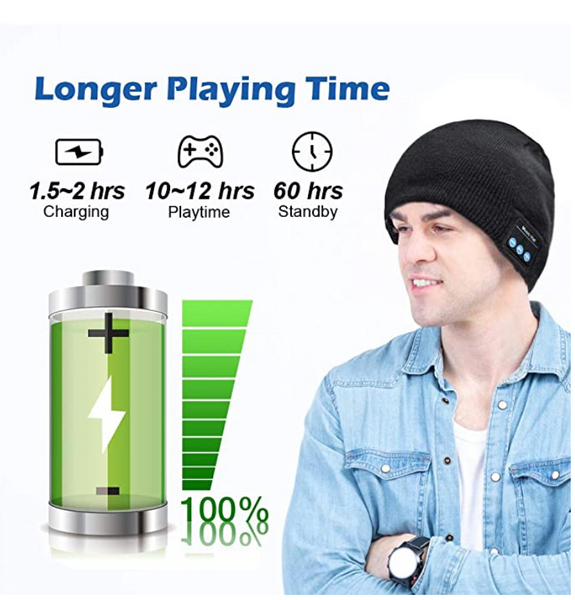 Bluetooth 5.0 Wireless Smart Beanie Headset With Musical Knit Headphone