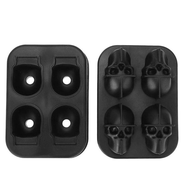 4 Holes Silicone Bones Skull Ice Cube Mold Cake Candy Tray Halloween Gift Ice Cube Maker Skull Shape Chocolate Mould Tray Mold