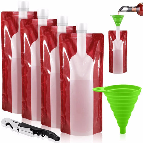 Wine Bag Unbreakable Flask Travel Gear Accessories Bag Plastic Foldable Reusable Portable Wine Bottle Bag