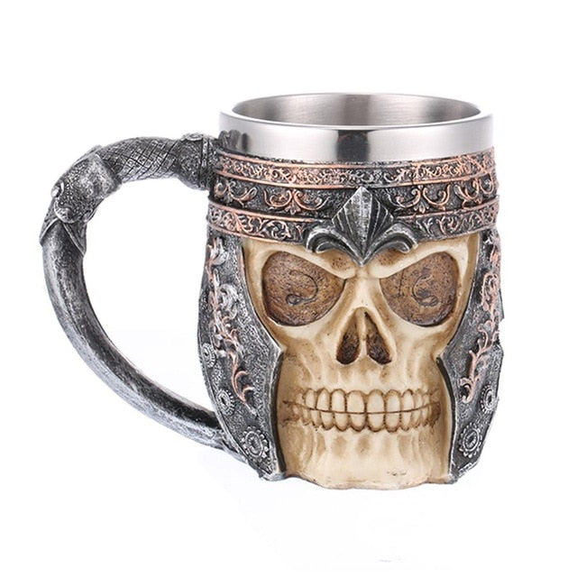 Hot Skull Mug Viking Coffee Cups Stainless Steel Travel Viking Horn Tankard Halloween Decoration Skeleton Cup Beer Stein Man