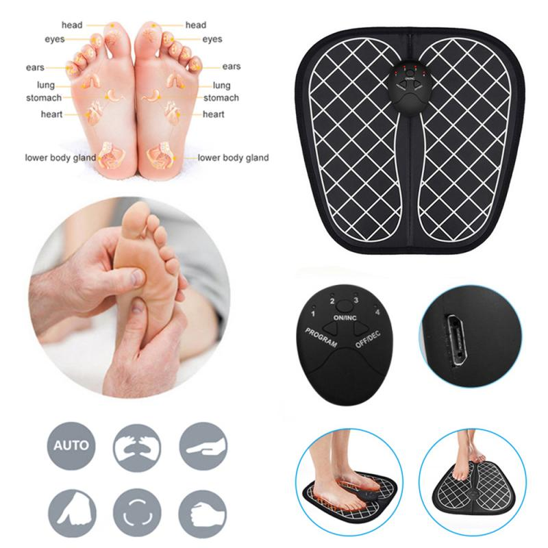 EMS Electric Foot Massager Dual Foot Massage Pad Feet Muscle Stimulator Improve Blood Circulation Relieve Ache Pain Health Care