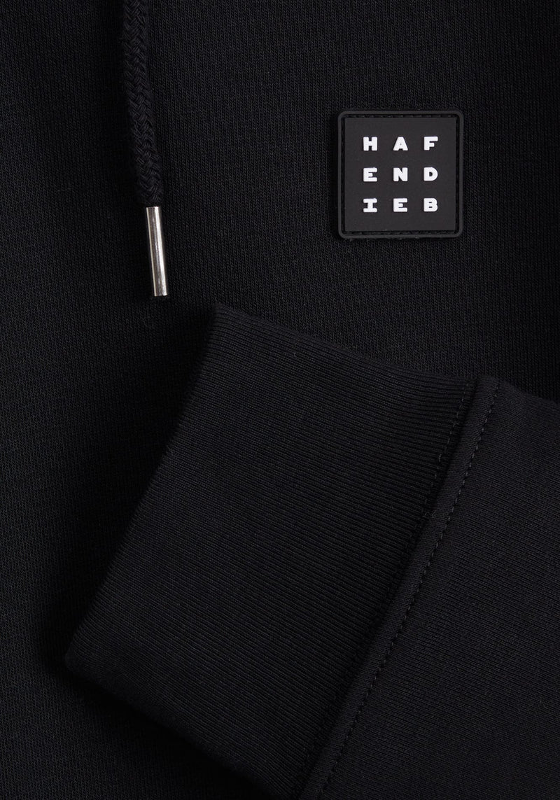 Logo Block Patch Hoodie black - Hafendieb