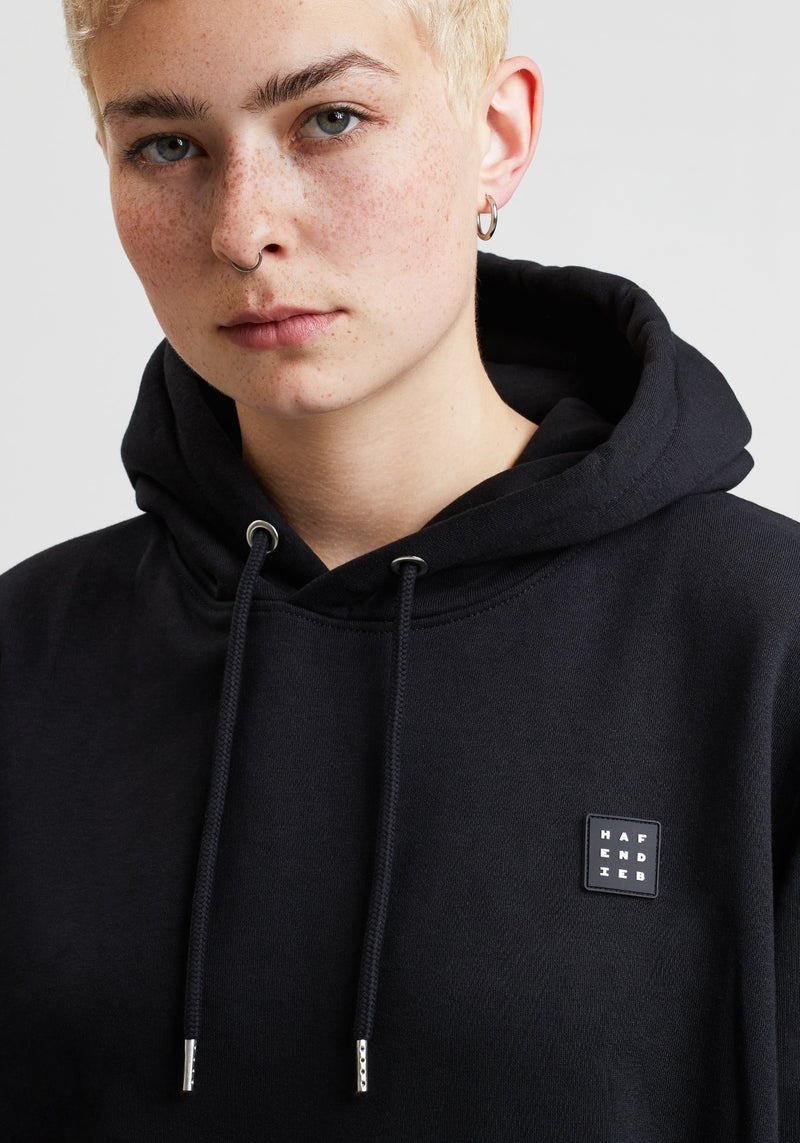 Logo Block Patch Hoodie black-Hafendieb