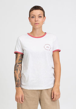 Wave Retro T-Shirt cream grey/ cranberry