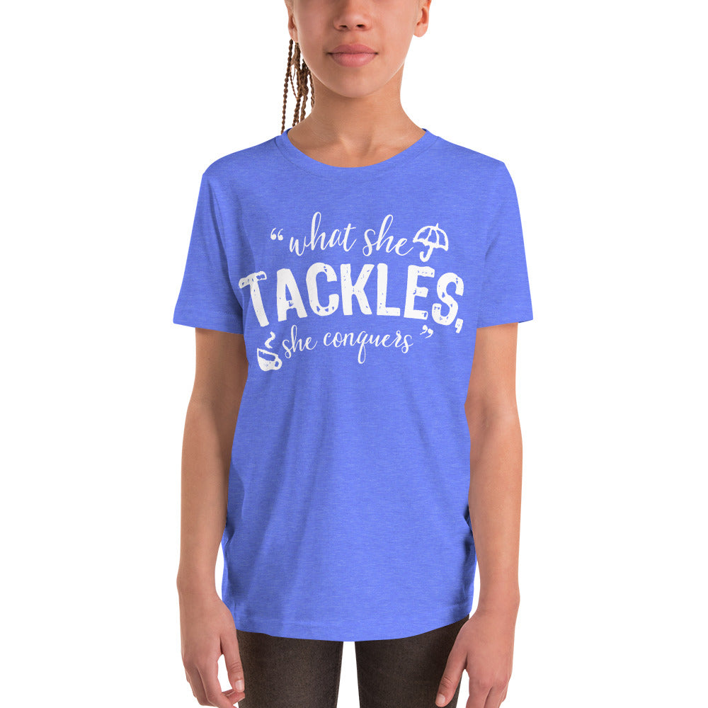 What She Tackles Youth Short Sleeve T-Shirt - FandomFix.com
