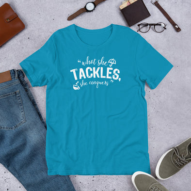 What She Tackles Unisex T-Shirt - FandomFix.com