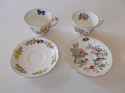"John Aynsley and Sons ""Pembroke"" and ""Cottage Garden"" Bone China Cups and Saucers."