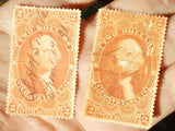 Two Dollar Conveyance USA Internal Revenue Stamps on silk paper; Scott Number R81d 1862 to 71