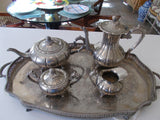 Electroplated Tea Service with Engraved Footed Serving Tray (5 pieces)