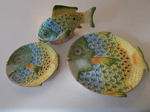 Italian Hand Painted Colorful Fish, salad dishs, Dinner plates and Soup Tureen with Lid and Spoon.