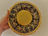 Crown Chelsea English China; Scalloped Edge Gold & Cobalt Blue Design (12 plates)