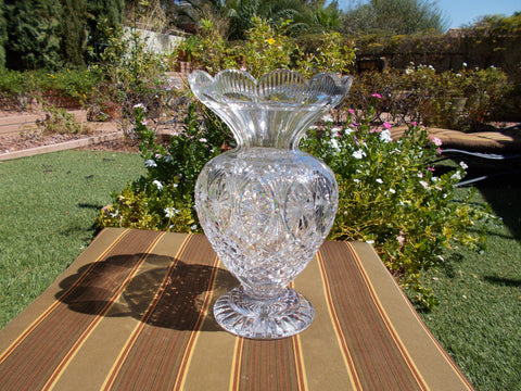 Waterford Crystal 12 inch Flower Top  Footed Vase