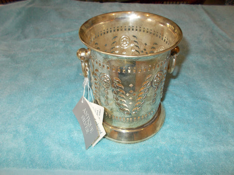 Pierced and Embossed Silverplate Bottle Holder (antique of 1885)