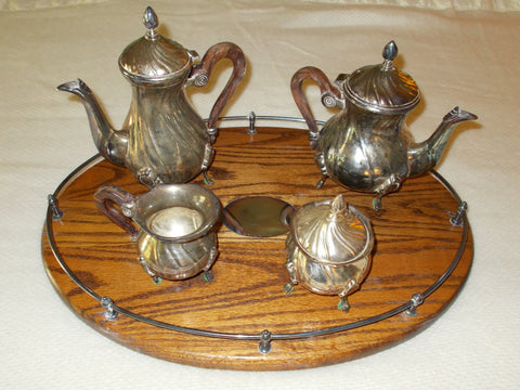 Antique Silverplate Tea Set with Wood Tray (5 parts)