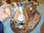 William & Dore Matching Pitchers set, Condiment Bowl with Lid,  Lenox Crystal Tumblers and Engraved Tray.  (12 pieces)