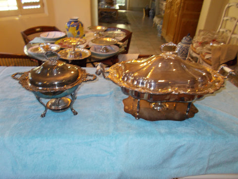 Large Birmingham Silver Co. & Wallace Silver Casserole and Broque Chaffers Dishes. (two dishes)