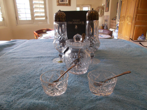 Waterford Crystal Condiment Serving Collection (5 pieces of Crystal, 3 spoons & 2 lids)