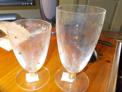"Footed ""Lymyers"" signed gold spot accented water and/or wine goblets. (16 glasses - 8 + 8)"