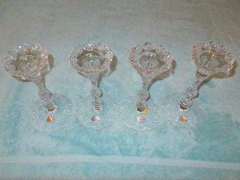 Rogaska Lead Glass Crystal Flower Top Candle Holders (2 sets)