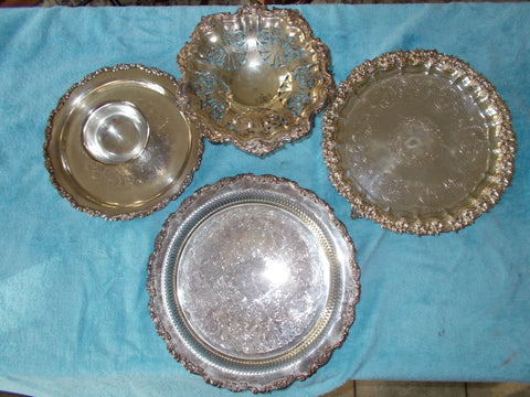 Silverplate Serving Trays with Gilded Perimeter Edges (4 trays)