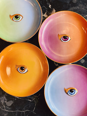 Lito-Eye Canape Plate in Orange+Yellow