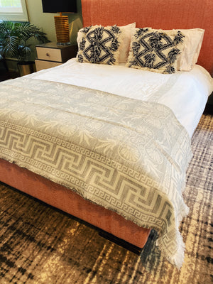 Greek Key Coverlet in Grey