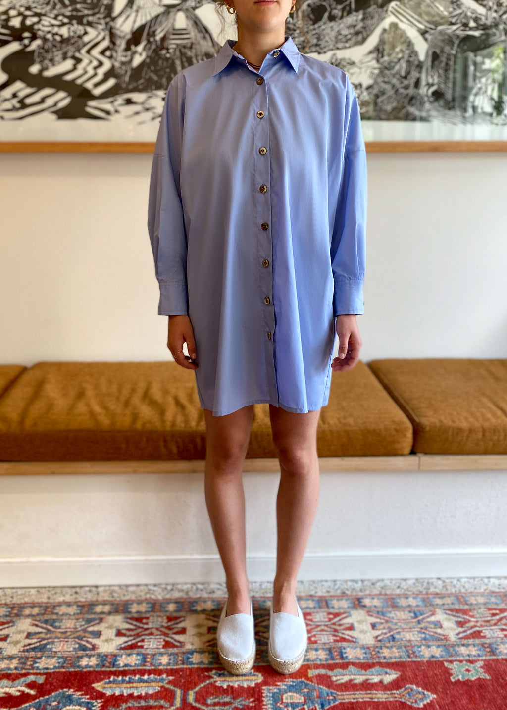 Mini Loose Shirt Dress in Baby Blue