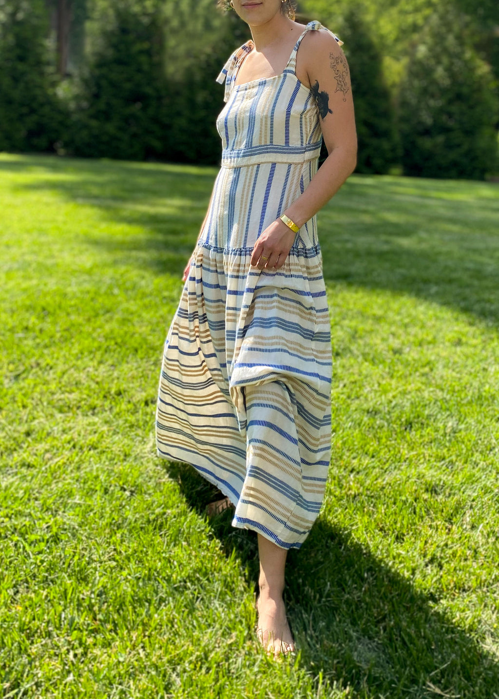 Striped Maxi Dress in Blue and Gold