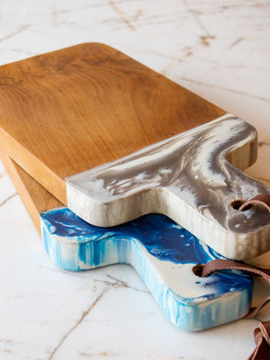Austin Blue Swirled Resin/Natural Teak Serving Board