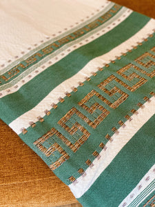 Greek Key Coverlet in Green