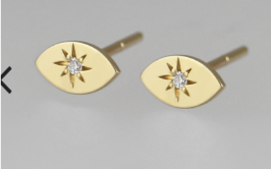 Anma 14K Gold Navette stud earrings with star diamonds