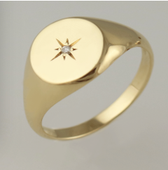 14K Gold Round ring with star diamond
