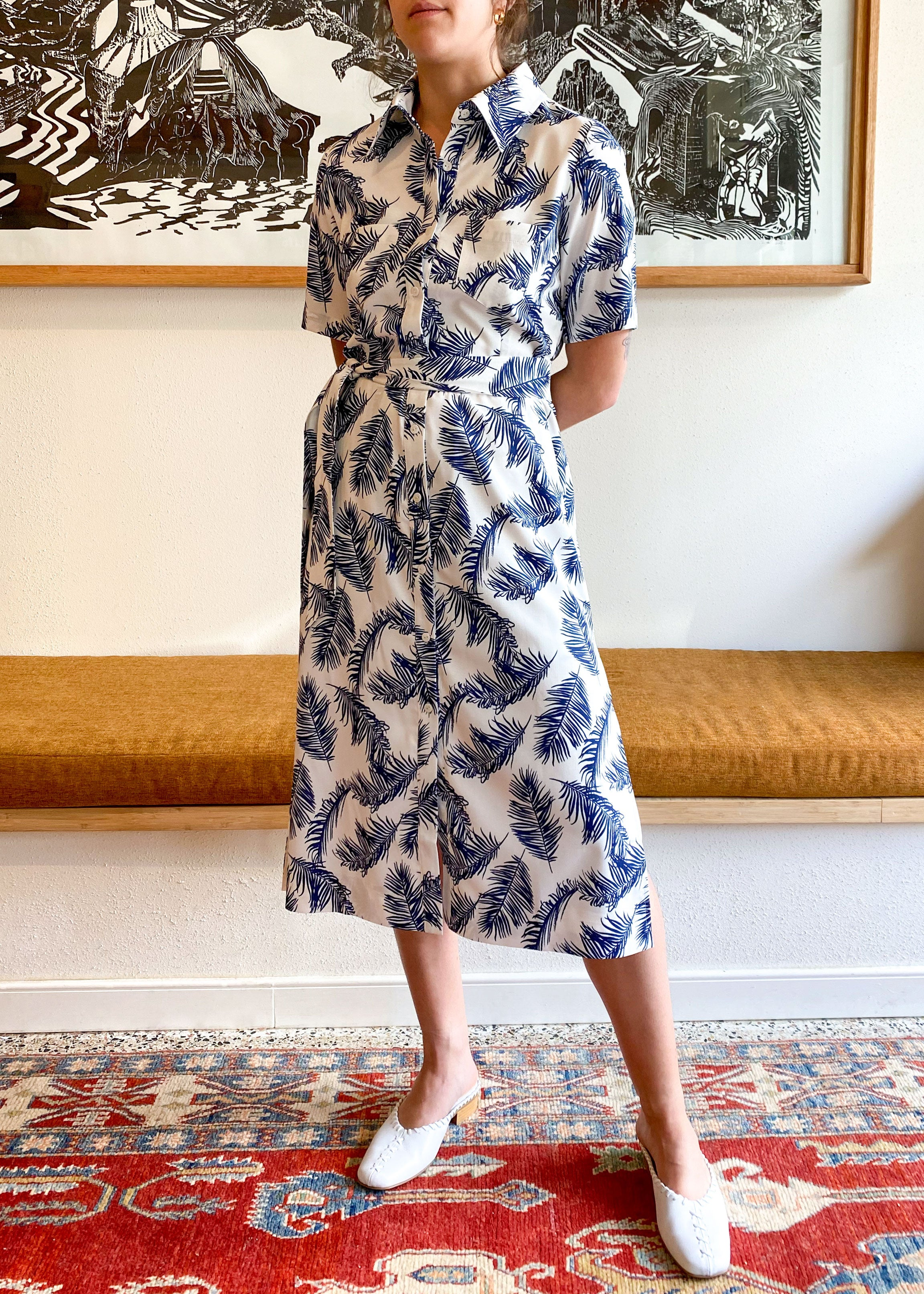 Palms Blue Shirt Dress