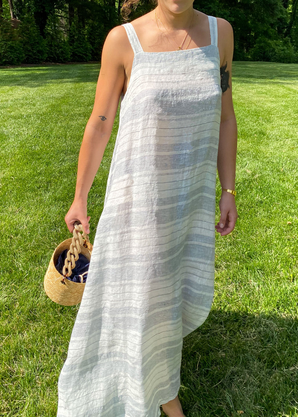 Summer Stripes Shift Dress in Blue and White
