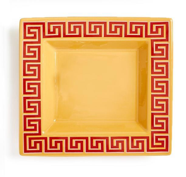 Greek Key Desk Tray in Orange