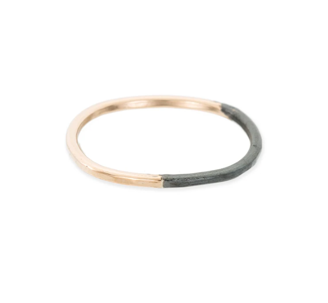Thin Round Black & Gold Stacking Ring
