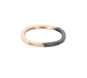 Thick Round Black & Gold Stacking Ring