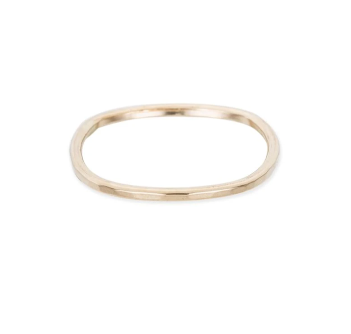 Thin individual Round Stacking Yellow Gold Ring